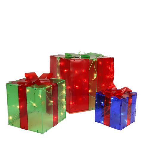 outdoor lighted christmas presents 3 piece lighted red green and blue gift box presents