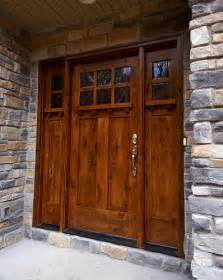 Strong sturdy and rustic this front door is reminiscent of a cabin