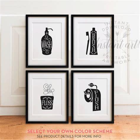 wall art printable set bathroom sayings wash brush floss bathroom art set printables wash brush floss flush