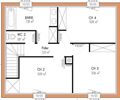 plan maison 3 chambres etage plan maison 4 chambres 1 etage