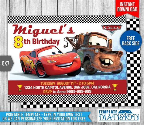 cars invitation cards templates disney cars birthday invitation 1 by templatemansion on