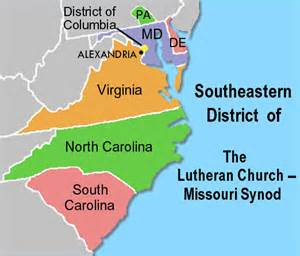 map of virginia carolina and south carolina southeastern district lutheran church missouri synod