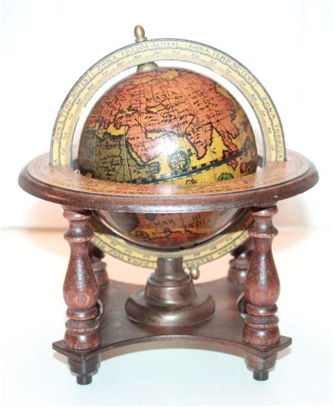 vintage italian world globe and stand home decor