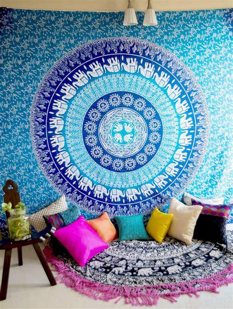 Turquoise Blue Sun Moon Elephants Medallion Ombre Wall