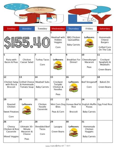 10 Ideas To Do A Food Budget by A Month Of Meals On A Budget July 2015 Meal Plan 31