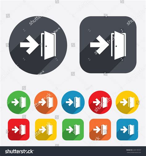 emergency exit icons door with arrow sign stock vector emergency exit sign icon door with right arrow symbol