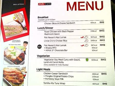 airasia menu calories information available in the air asia in flight