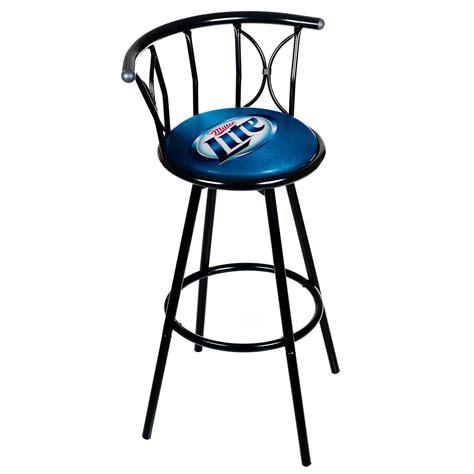 miller lite weatherproof padded outdoor bar stool black