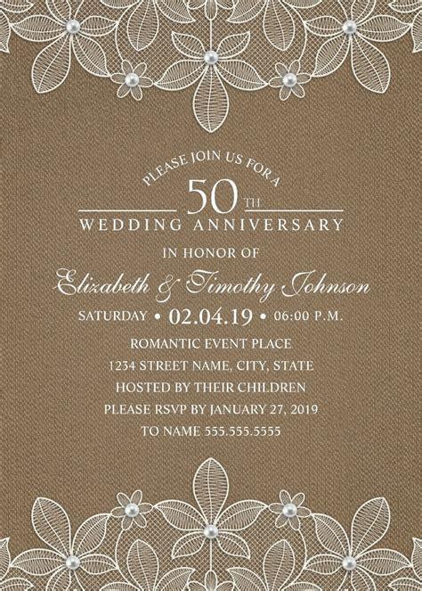 Rustic Burlap 50th Wedding Anniversary Invitations   Lace