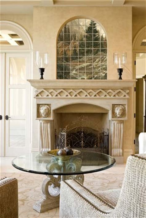 Fireplace Niche by Rustic Tile Mural In Fireplace Niche Living Room