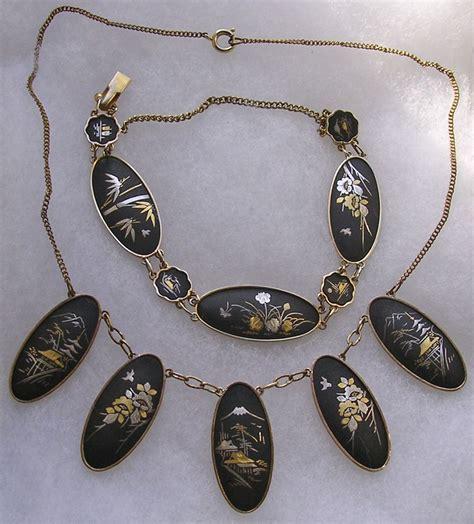 japanese gold inlay shakudo demi parure necklace bracelet