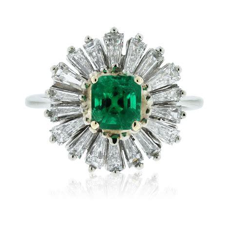 Emerald Cut Ring by 14k White Gold Baguette Emerald Cut Emerald