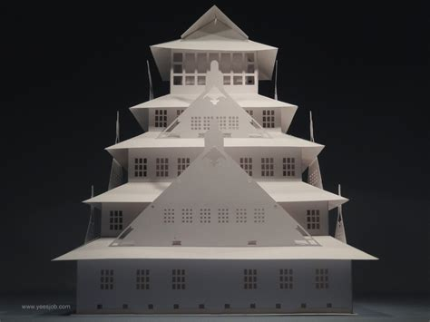 Castle Origami - the kingdom of origami architecture the osaka castle pop