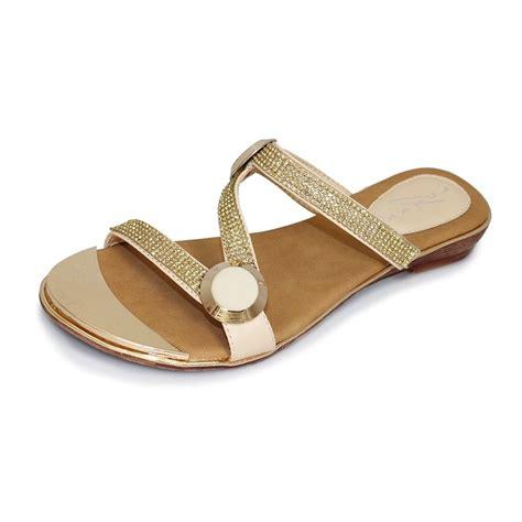 Delia Shoes delia jlh715 beige sandal with glitzy trim