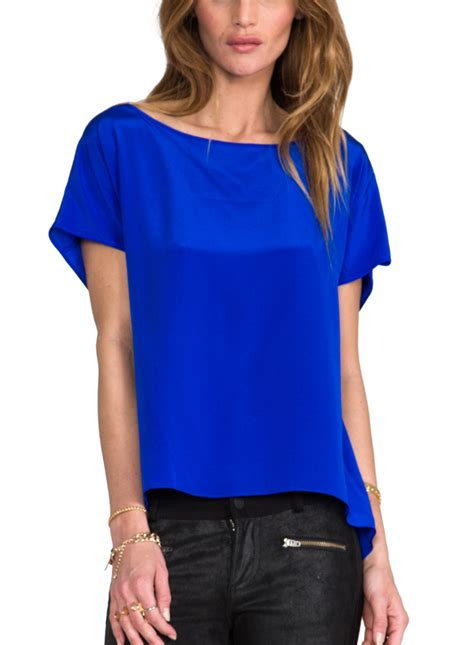 blue top royal blue blouse top tulips clothing