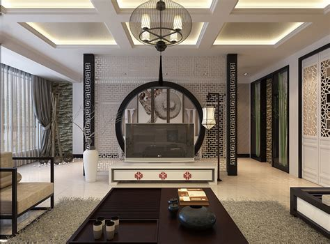 asian interior design oriental stencil feature wall monochrome living china