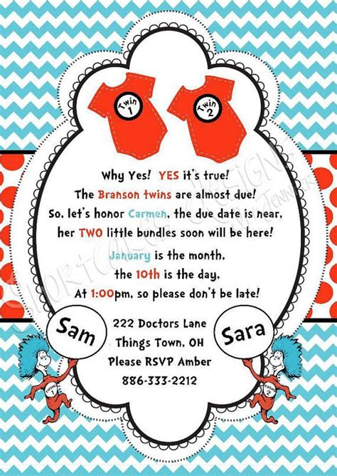Dr Seuss Thing 1 And Thing 2 Baby Shower by Printable Dr Seuss Baby Shower Invitations For One Baby
