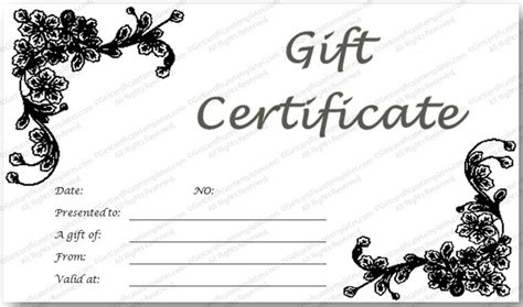 black and white gift certificate template free black glades gift certificate template cleaning