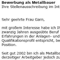 Bewerbung Als Metallbauer bewerbung metallbauer in berufserfahrung ungek 252 ndigt