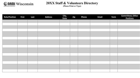 Reaf Docs Board Of Directors Staff Nami Wisconsin In Out Board Template