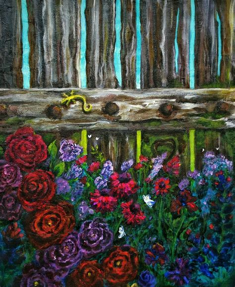 acrylic painting description acrylic painting on canvas whimsical garden of flowers