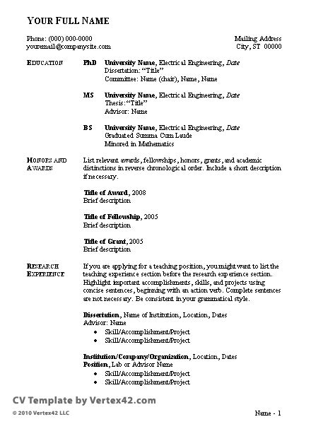Cv Outline Template by Free Cv Template Curriculum Vitae Template And Cv Exle