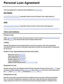 Personal Loan Agreement Template Free Free Loan Agreement Template Pdf 2 Page S
