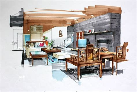 interior design sketches interior sketch living room marker rendering perspective