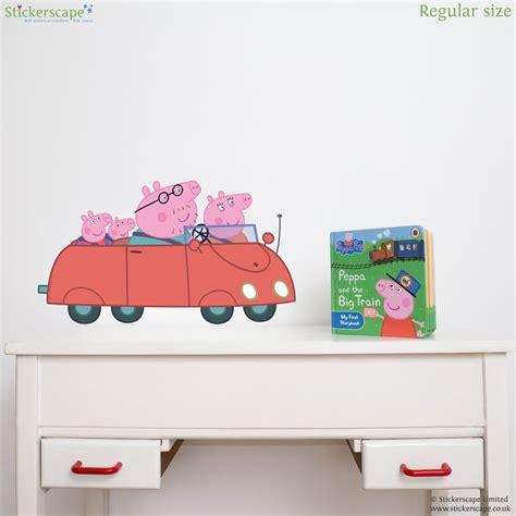 peppa pig wall stickers peppa and friends car wall sticker stickerscape uk