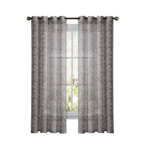 Charcoal Sheer Curtains Eclipse Wyndham Blackout Charcoal Curtain Panel 63 In Length 12968052063chr The Home Depot