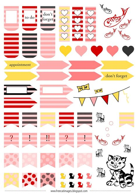 printable cat stickers free cat images free printable planner stickers cats