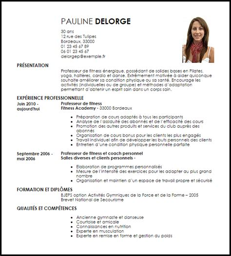 French Resume Examples by Exemple Cv Professeur De Fitness Livecareer