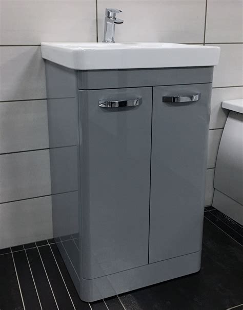 perla grey gloss curved vanity unit with ceramic basin