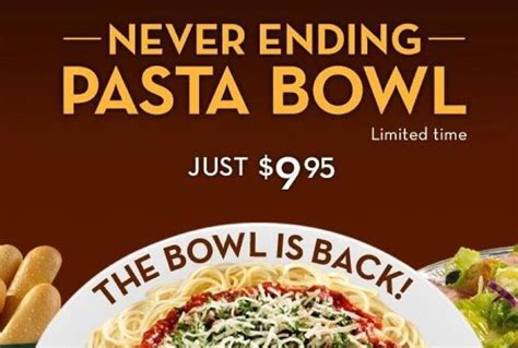 Olive Garden Pasta Bowl by Olive Garden S Never Ending Pasta Bowl With Soup Salad
