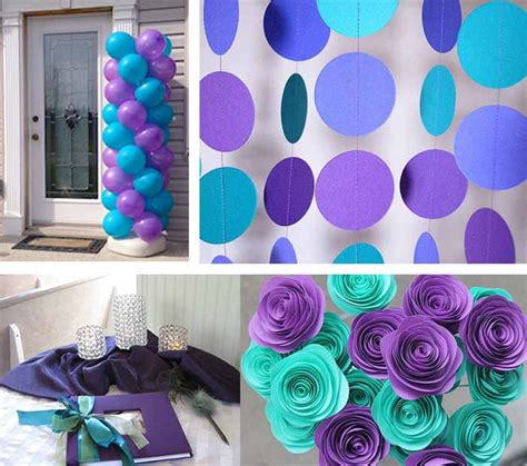 Teal Decorations by Decorated Purple And Teal Wedding With Flowers And