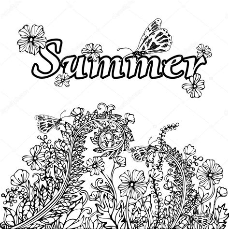 abstract summer coloring pages summer abstract landscape coloring book hand drawing