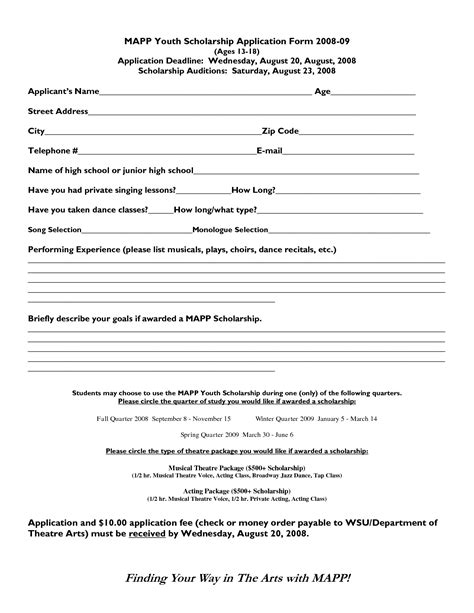 scholarship forms template scholarship format sle exles and forms