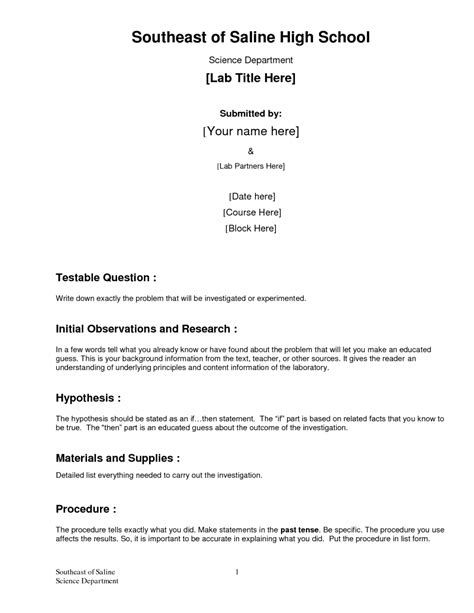 Formal Lab Report Template 7 Formal Lab Report Template Biological Science Picture Directory Formal Report Template