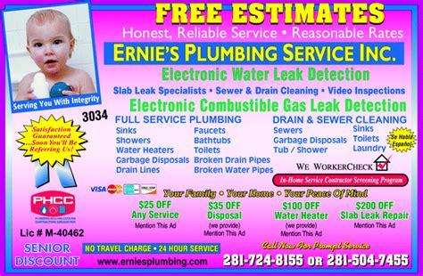 Ernies Plumbing yellowbook the local yellow pages directory