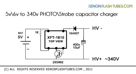 how to charge a high voltage capacitor with low voltage xenon flash schematics photography flash stage strobe lights circuit diagrams hints