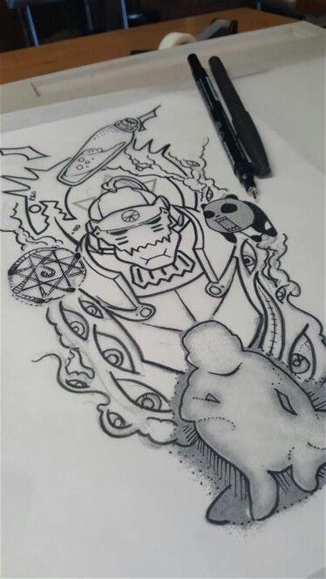 Kartu Remi Tatoo Alchemist X instagram dare2tattoo fullmetal design composition sleeve designs