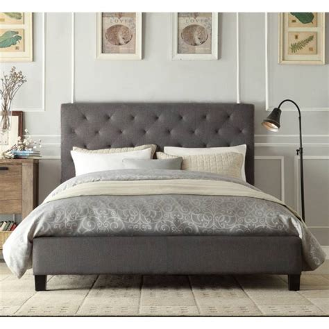 King Bed Frame Gray Chester King Padded Linen Fabric Bed Frame In Grey Buy