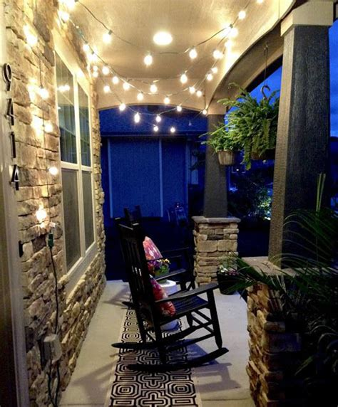 outdoor porch string lights small patio string lighting ideas