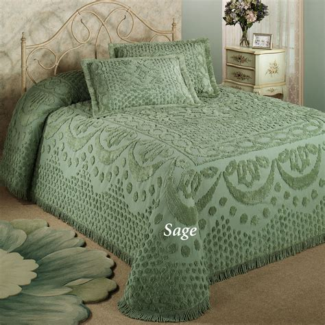 bed spread kingston beige or white chenille bedspreads