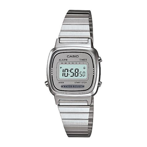 Casio Ladies' Mini Stainless Steel Grey Dial Digital Watch   H.Samuel