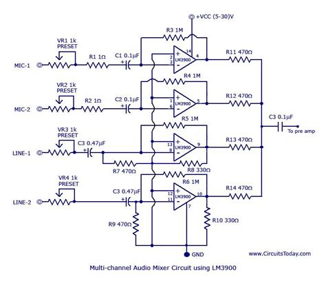 Pcb Mixer Audio lm3900 audio mixer circuit lifier circuit schematic projects
