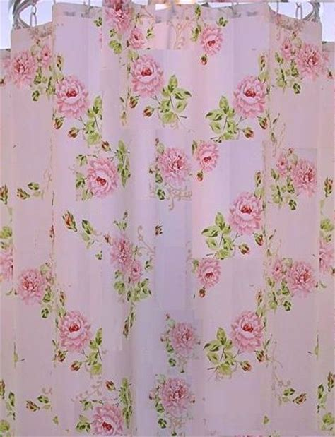 roses shower curtain french ruffle pink roses cottage colors shower curtain