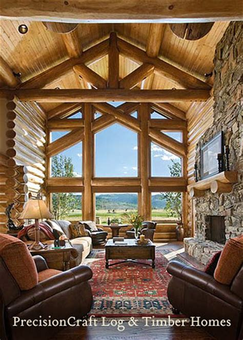 custom design handcrafted log home great room view pre