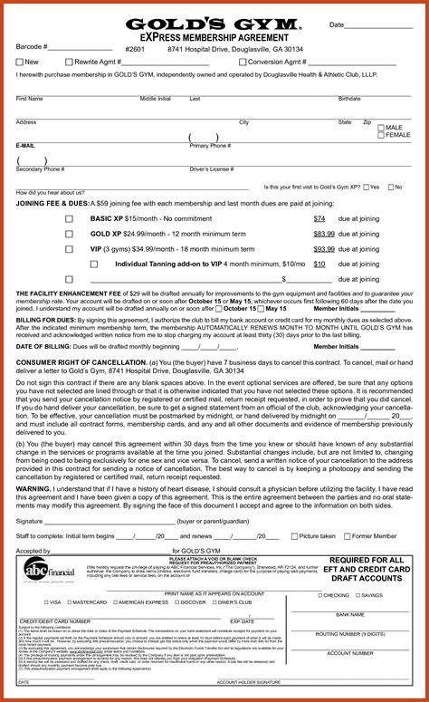 fitness contract template 9 10 contract template resumetem