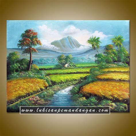 Lukisan Pemandangan Pegunungan lp069 lukisan pemandangan sawah dan gunung elevenia